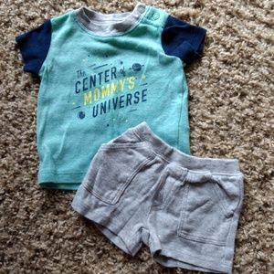 Carter's Green & Blue Shirt & Gray Shorts Space